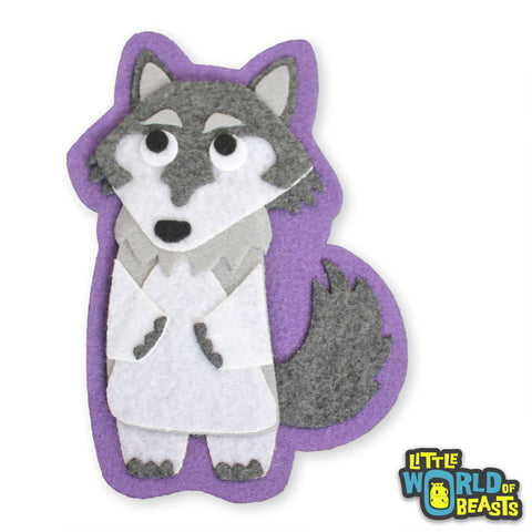 Hugo the Wolf - Felt Animal Sew On or Iron On Patch - Little World of Beasts