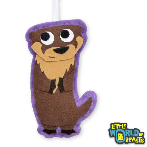 Bastian the Otter - Handmade Felt Animal - Woodland Ornament - Little World of Beasts