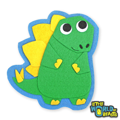 Duncan the Stegosaurus - Felt Applique - Dinosaur - Sew On or Iron On Patch