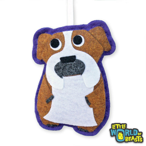 Bartholomew the English Bulldog - Christmas Felt Ornament - Little World of Beasts