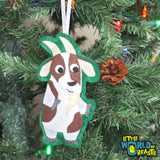 Goat  Christmas Ornament - Handmade Felt Farm Animal - Little World of Beasts