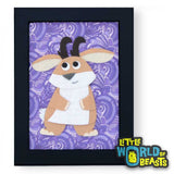 Hilda the Jackalope - Framed Cartoon Animal Art - Little World of Beasts