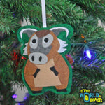 Red River Hog - Felt Animal Christmas Tree Ornament