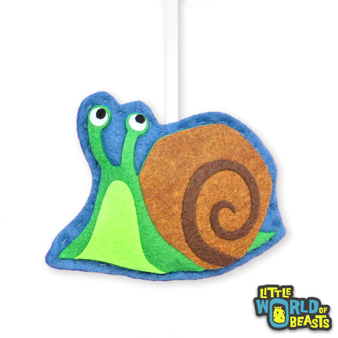 Horatio the Snail - Felt Animal Ornament - Little World of Beasts
