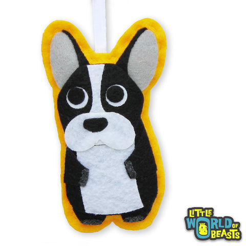 Handmade Felt Animal Ornament with Personalizable Back - French Bulldog