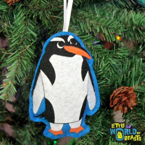 Gentoo Penguin - Felt Animal Christmas Ornament