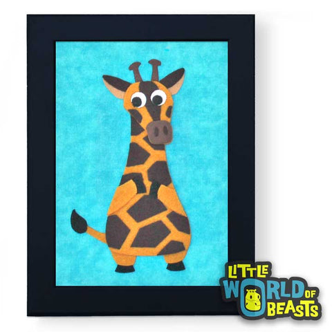 Hannah the Giraffe  - Framed Kids Room Art - Little World of Beasts
