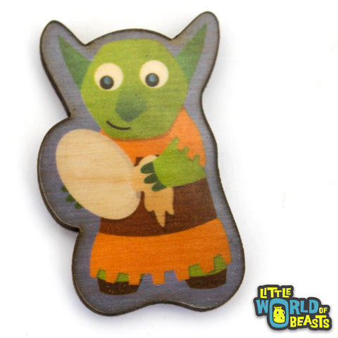 Goblin Washes the Dishes - Mundane Monster Laser Cut Wooden Pin