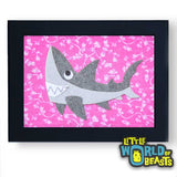 Derek the Great White Shark Framed - Kids Room Decor - Little World of Beasts