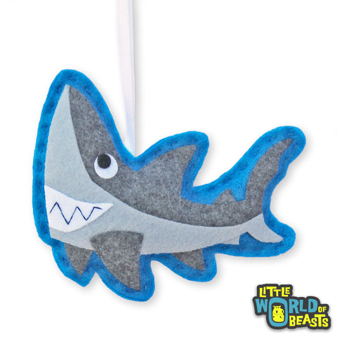 Derek the Great White Shark - Felt Animal Ornament - Little World of Beasts
