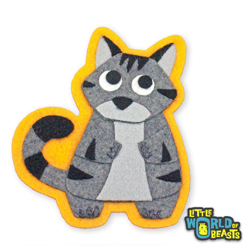 Hazel the Gray Tabby - Felt Cat Patch - Sew on or Iron on - Little World of Beasts