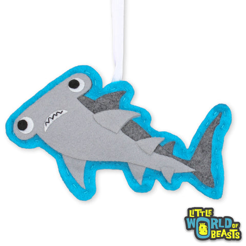 Hammerhead Shark Felt Animal Christmas Ornament - Personalizable