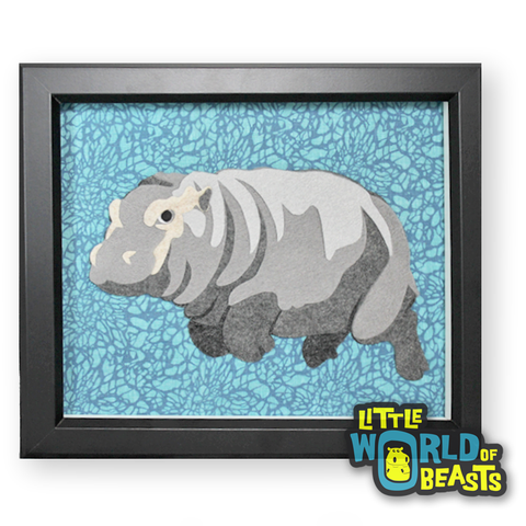 Baby Hippo - Felt Animal Portrait