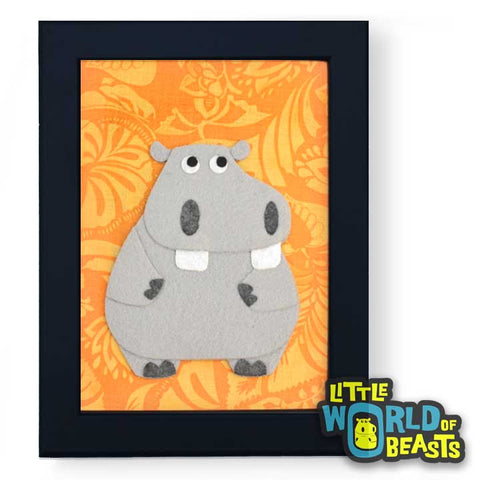 Hippo - Framed Nursery Art - Yellow