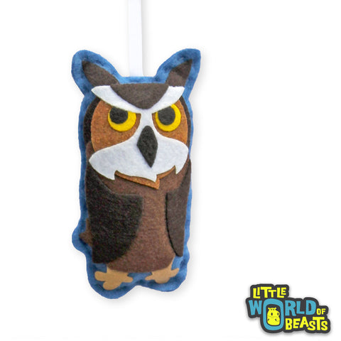Great Horned Owl Handmade Christmas Ornament - Great Horned Owl