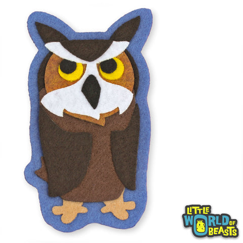 Fredrickson the Great Horned Owl - Felt Animal Patch - Little World of Beasts