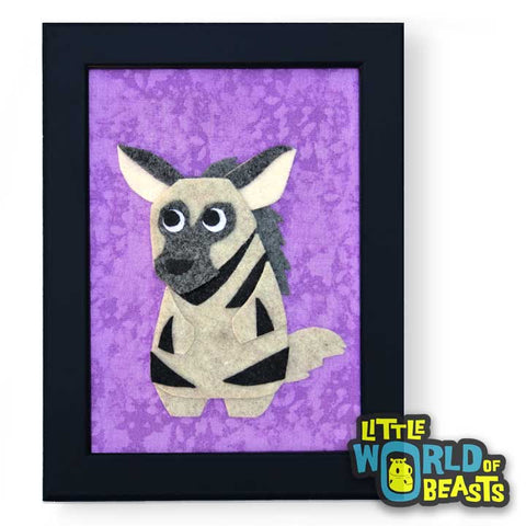 ichabod_the_hyena-frame.jpg  720 × 720px  Ichabod the Striped Hyena - Felt Animal Framed Kids Room Decor