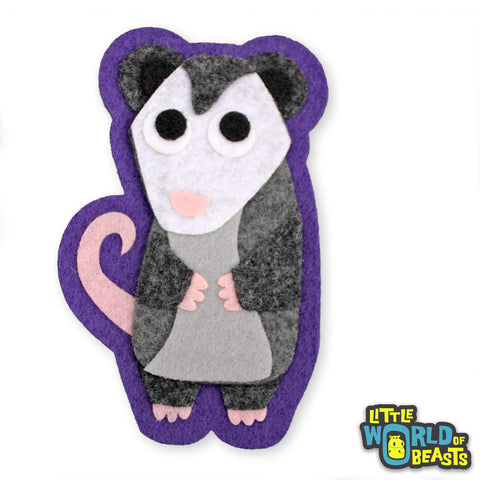 Quigley the Opossum - Felt Animal Patch - Sew On or Iron On