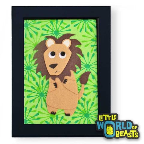 Oscar the Lion - Felt Animal Nursery Art - Little World of Beasts