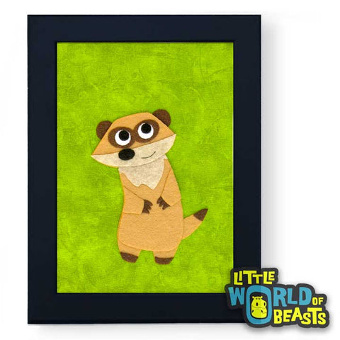 Nathaniel the Meerkat - Felt Animal Framed Kids Decor -Little World of Beasts
