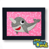 Vinnie the Narwhal - Framed Kids Room Decor -Little World of Beasts