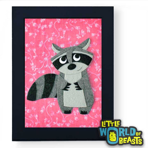 Matilda the Raccoon -Woodland Animal Nursery Decor Framed - Little World of Beasts