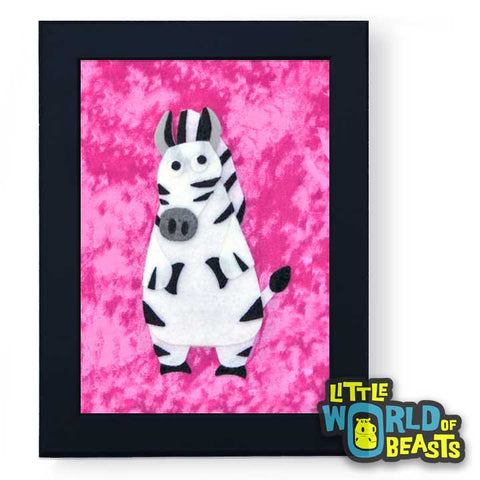 Temperance the Zebra Framed - Zoo Animal Nursery Art -  Little World of Beasts