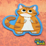 Augustus the Orange Tabby - Felt Cat Applique - Iron On or Sew On Patch