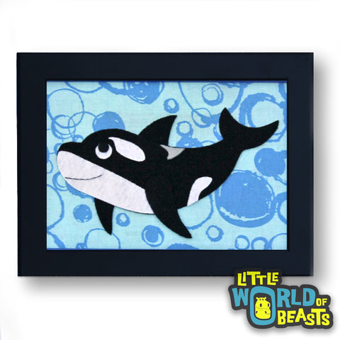 Manny The Orca Framed - Ocean Animal Art - Kids Room Decor - Little World of Beasts