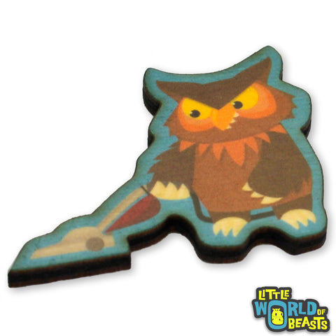 Owlbear Vacuuming - Mundane Monster Wooden Pin