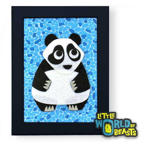 Laurence the Panda - Felt Nursery Art - Framed Felt Animal