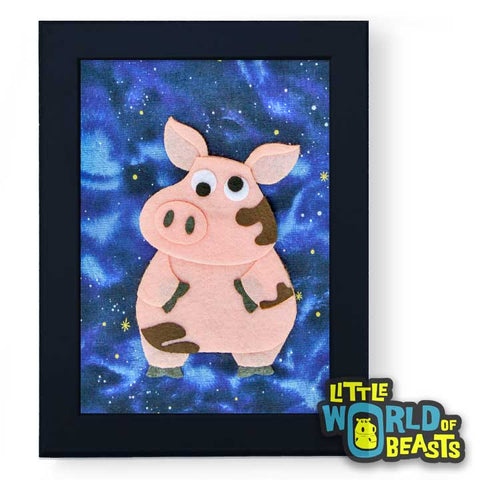 Sir Francis the Pig Framed -Kids Room Decor - Little World of Beasts