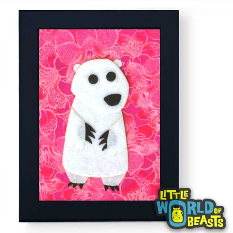 Dharma the Polar Bear - Felt Animal Nursery Art - Framed