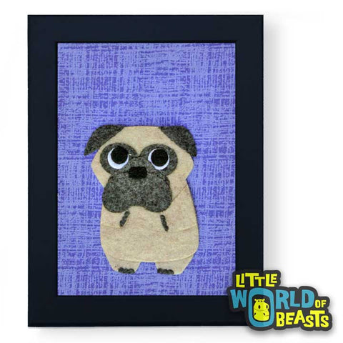 Peaches the Pug - Framed Cartoon Dog Art - Little World of Beasts