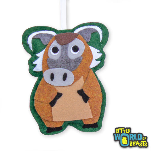Red River Hog - Handmade Felt Animal - Christmas Ornament
