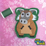 Sew On or Iron On - Felt Animal Patch - Red River Hog
