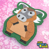 Iron on Patch - Felt Animal Applique - Red River Hog