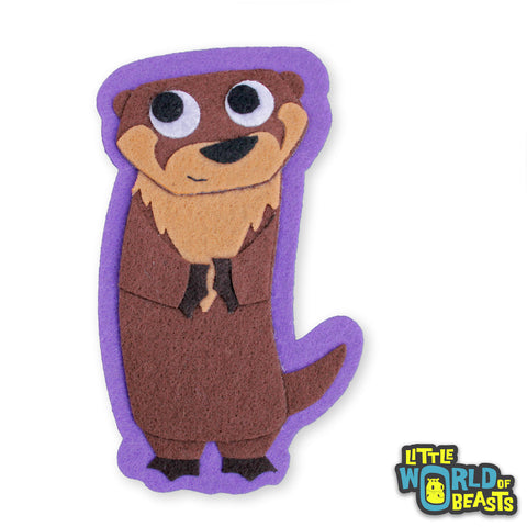 Bastain the River Otter - Felt Animal Applique Patch - Little World of Beasts