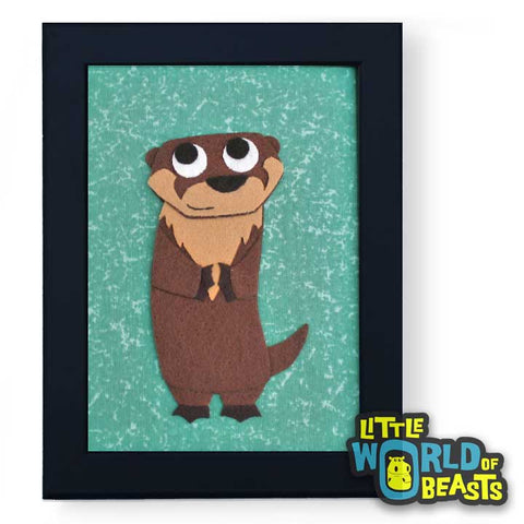 Bastian the Otter - Felt Animal Nursery Decor Framed - Little World of Beasts
