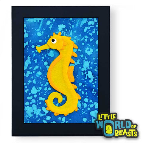 Archibald the Sea Horse Framed - Ocean Animal Kids Room Decor - Little World of Beasts