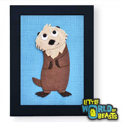 Dmitri the Sea Otter - Framed - Felt Animal Nursery Decor - Little World of Beasts