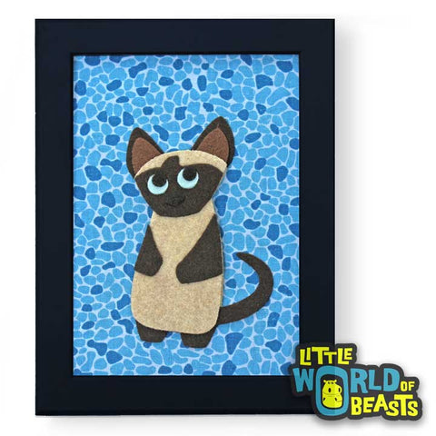 Genevieve the Siamese Cat - Felt Animal Art- Framed