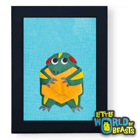 Felt Animal Art - Turtle - Framed 5 x 7 - Little World of Beasts
