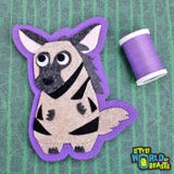Ichabod the Striped Hyena - Sew On or Iron On Felt Animal Patch - Little World of Beasts
