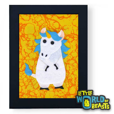 Charlemagne the Unicorn - Framed Nursery Art - Little World of Beasts