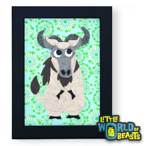 Quincy the Wildebeest - Framed Nursery Art - Little World of Beasts