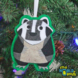 Handmade Felt Christmas Tree Ornament - Badger