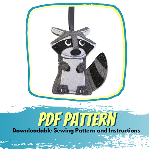 Raccoon - Felt Animal Pattern -  Woodland Christmas Ornament