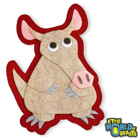 Aardvark - Felt Animal Patch - Iron On or Sew On - Little World of Beasts