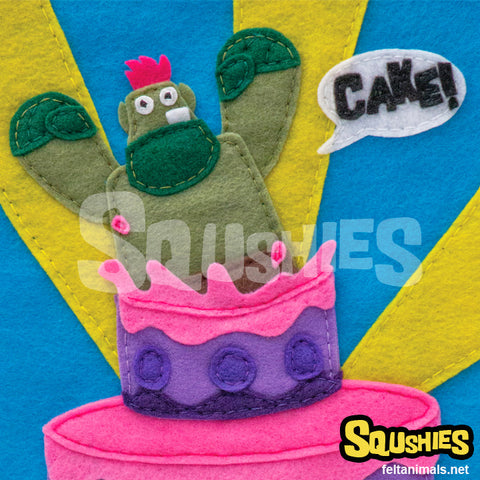 Cake Troll Felt Illustration - Print
